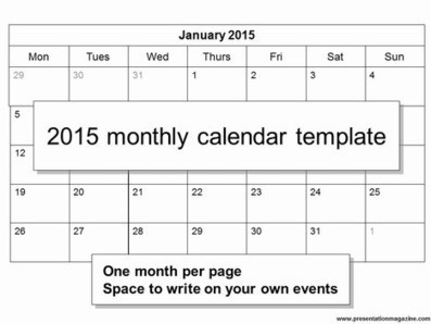 Free 2015 Monthly Calendar Template | News we like | Scoop.it