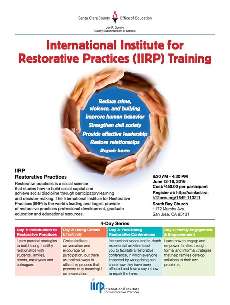 International Institute for Restorative Practices (IIRP) - Basic Restorative Practices Training	<br/>June 13-16, 2016 // SCCOE &amp; IIRP | Santa Clara County Events and Resources to Support Youth Development | Scoop.it