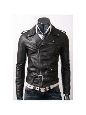 Belted Black Slim Fit Leather Jacket | Leather Jackets | Scoop.it