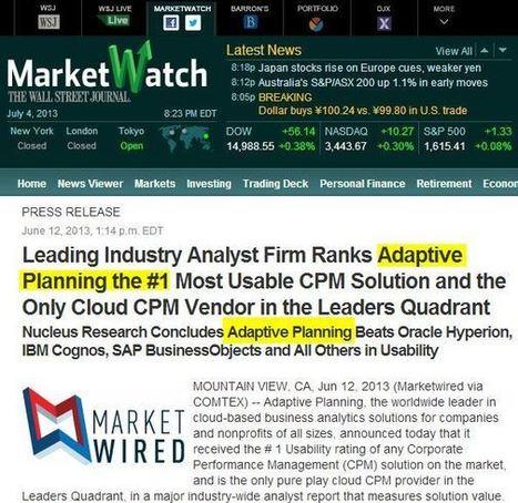 Adaptive planning, première position au palmares des logiciels CPM   Blogue Modelcom   Modélisation financière   Scoop.it