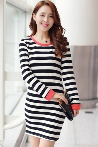 Bowknot Trim Striped Bodycon Dress - OASAP.com | Street Fashion | Scoop.it