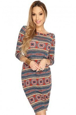 Teal Rust Printed Quarter Sleeves Casual Dress   The Season's Hottest Styles from Pink Basis   Scoop.it
