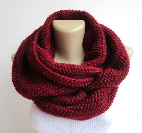 valentines day gift scarf ,burgundy knitted infinity scarf ,unisex ,chunky hood circle neckwarmer , winter fashion accessory | scarf | Scoop.it