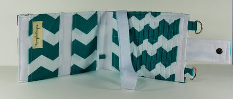 Women's Wallet Organizer with Card Slots - 2 in 1 - Teal Blue and White Zig Zags | Tramp Lee Designs Bags | Scoop.it