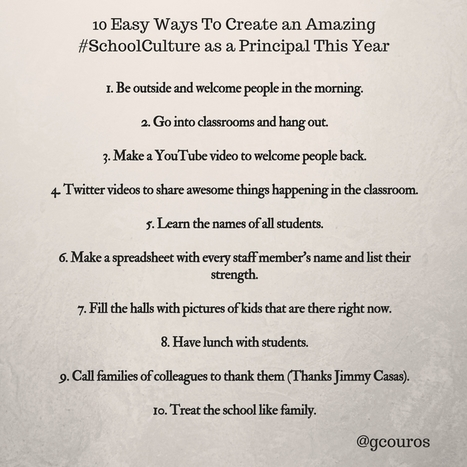 10 Easy Ways To Create an Amazing #SchoolCulture as a Principal This Year | Teaching and Professional Development | Scoop.it