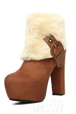 High Heel Buckle Decorated Furry Boots | Dressve fashion | Scoop.it