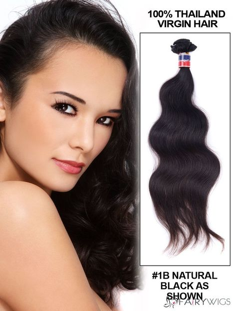 """12""""-30"""" Body Wave Thailand Virgin Hair Extension Weft - Natural Black : fairywigs.com 