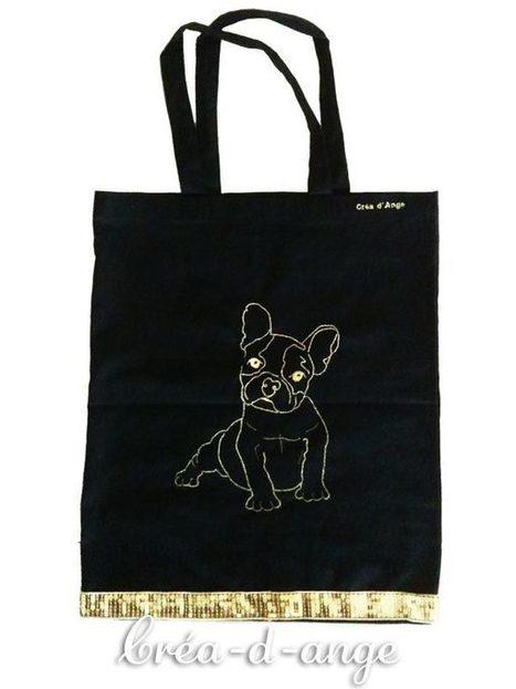 Sac brodé avec un motif de chien Bouledogue : Créa d'Ange | Où trouver mes créations? | Scoop.it