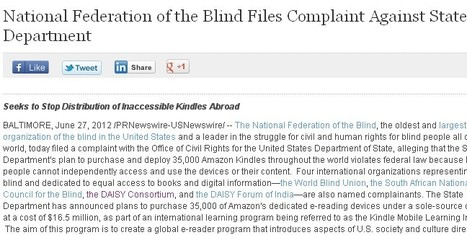 National Federation of the Blind Files Complaint Against State Department | Inclusive teaching and learning | Scoop.it