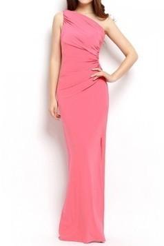 One Shoulder Pink Evening Dress | dresses | Scoop.it