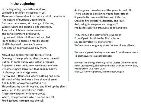 A poem about the evolution of photosynthesis by Ralph A. Lewin | Teaching science | Scoop.it