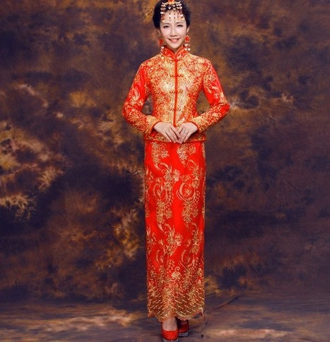 Vintage Gold Embroidery Qipao Chinese Style Dresses Cheongsam for Wedding Party | Cheongsam | Scoop.it