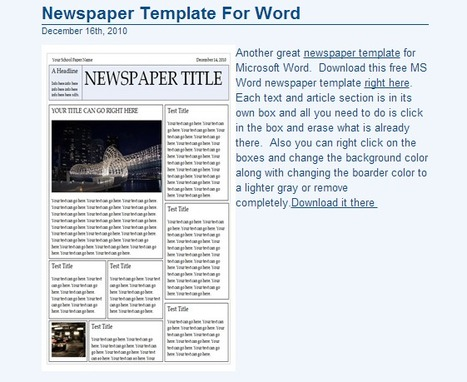 Free Newspaper Template, Microsoft Word Newspaper Templates for Kids & Students | Tools for Classroom or Personal Use | Scoop.it