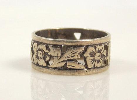 Vintage Sterling Silver Clark & Coombs Flower Leaf Ring 6.5   Vintage Jewelry   Scoop.it