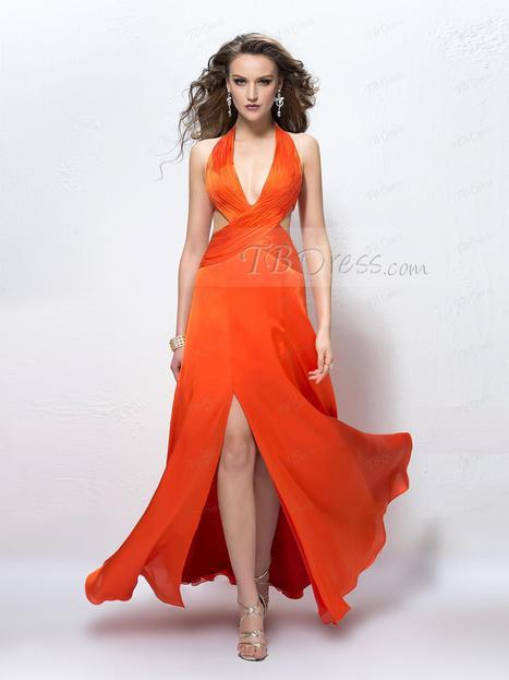 $ 87.29 Sexy A-line Halter Deep V-Neck Split Front Backless Prom Dress Designed Independently   one-piece dress   Scoop.it