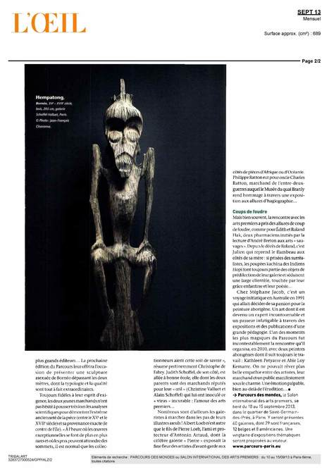 L'Oeil, Sept. 13, suite | Parcours des Mondes 2013, le salon international des arts premiers | Scoop.it