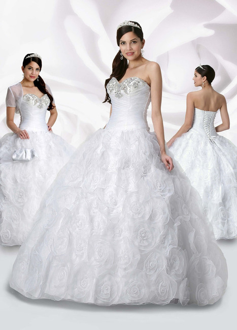 Ball Gown Sweetheart Rosettes Beading Organza Floor-length Quinceanera Dress at sweetquinceaneradress.com | PUFFY QUINCEANERA DRESSES | Scoop.it