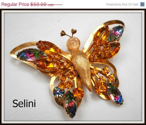 Vintage Selini Amber and Watermelon Color Rhinestone Butterfly Brooch | vintage jewelry | Scoop.it