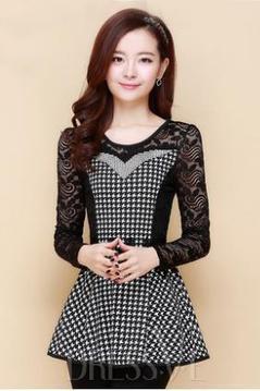 Black Lace Patchwork Houndstooth Slim Plus Size Blouse   Dressve fashion   Scoop.it