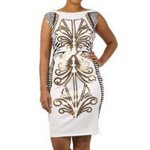 Sponsored Plus Size Fashion Trend of the Day… White Egyptian Neoprene Print Body Con Dress From The Unique You - PLUS Model Mag | G3 & ME:  Lifestyle of the Glitzy-Glam Girl | Scoop.it