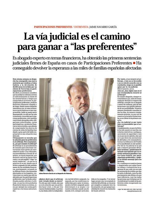 La vía judicial es el camino para ganar a las preferentes. | Jaime Navarro. Abogado Especialista Preferentes