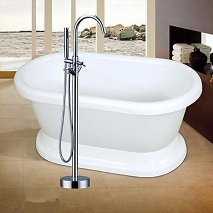 Contemporary Chrome Finish Ceramic Valve Single Handle Floor Mounted Floor Standing Bathtub Faucet-- Faucetsmall.com | Shower Faucets & Bathtub Faucets | Scoop.it