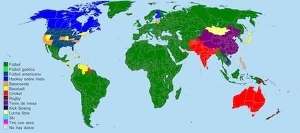 Planeta Fútbol: Mapamundi de los deportes más populares en cada país | educacion fisica teje | Scoop.it