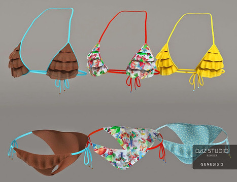 3d Model Art Zone: 3d Models Art Zone - Frilly Triangle Bikini for Genesis 2 Female(s) | 3d Models | Scoop.it