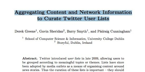 How To Best Curate Twitter User Lists: Research Paper (PDF) | Social Networker | Scoop.it