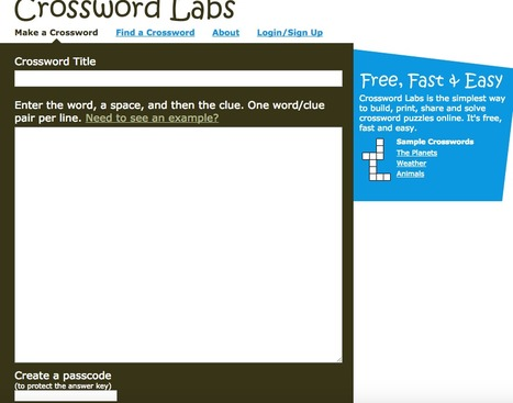 Free, Online Crossword Maker - Crossword Labs | E-Learning Suggestions, Ideas, and Tips | Scoop.it