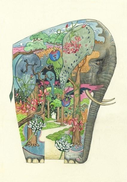 Illustrations of Animals That Depict Their Natural Habitat Within Them #art #illustartion #animals | Luby Art | Scoop.it