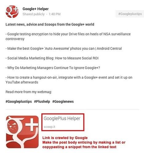 GooglePlus Helper: Link dumping is not recommended on Google+ | GooglePlus Expertise | Scoop.it