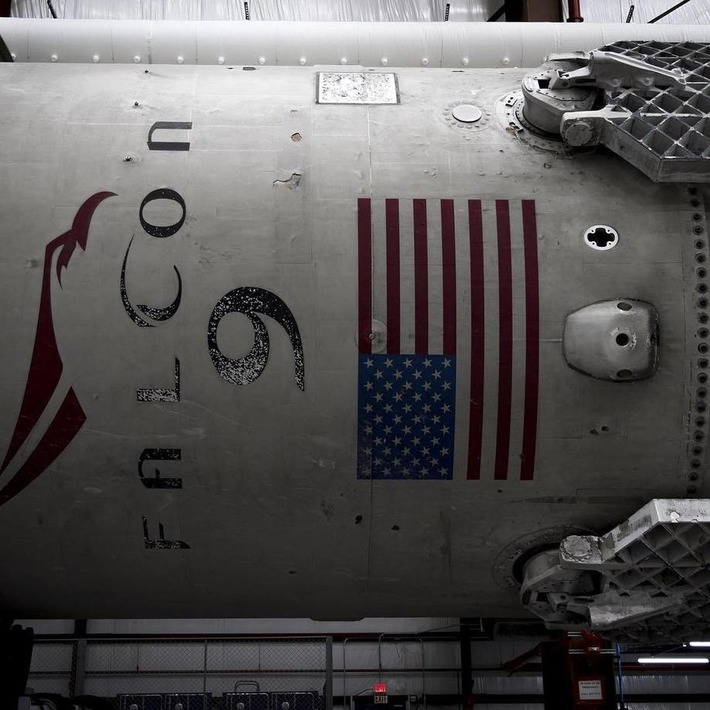 """Elon Musk on Instagram: """"Falcon 9 back in the hangar at Cape Canaveral. No damage found, ready to fire again."""" 