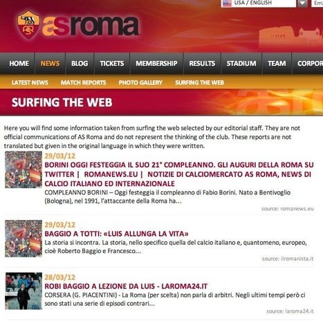 AS Roma Curates Its News Stream With Shareist | Content Curation World | Scoop.it