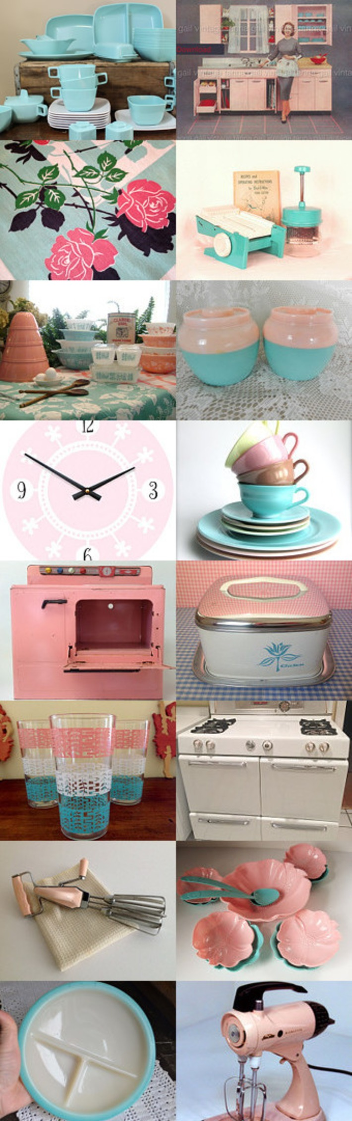 Spring Kitchen in Aquas & Pinks by Lonnie on Etsy | Antiques & Vintage Collectibles | Scoop.it