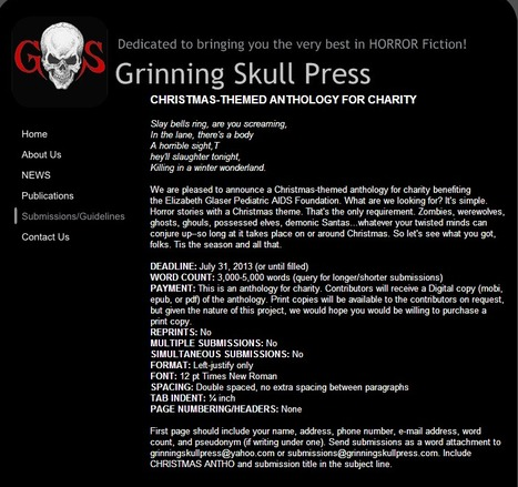 Grinning Skull Press is seeking Christmas-themed horror stories for a charity anthology. | poetry-data | Scoop.it