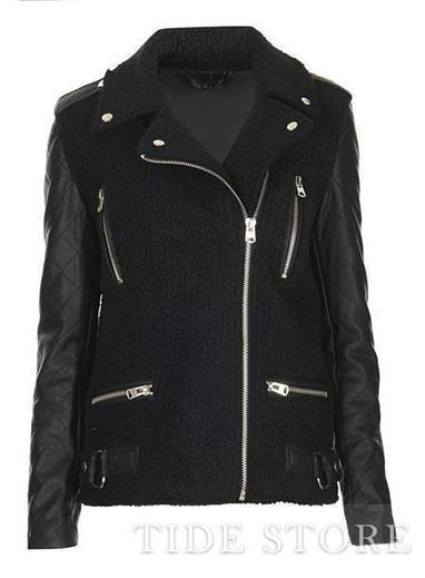 Amazing Black Split Joint Zipper PU Jacket   Dresses   Scoop.it