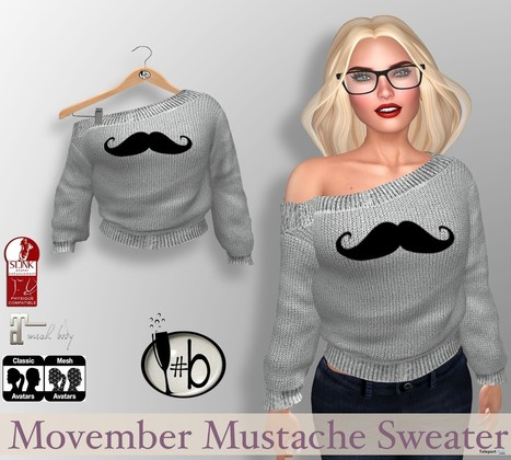 Mustache Sweater November 2016 Group Gift by #bubbles   Secondlife freebies   Scoop.it