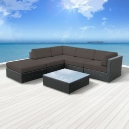 Luxxella Outdoor Patio Wicker BERUNI Dark Grey Sofa Sectional Furniture 6pc All Weather Couch Set | Furniture Shoppy | Best Patio Furniture Sets | Scoop.it