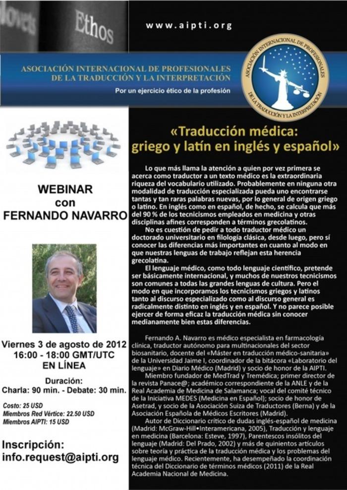 Traducción médica: griego y latín en inglés y español (Webinar by Dr. Fernando Navarro) | AIPTI.org | Glossarissimo! | Scoop.it