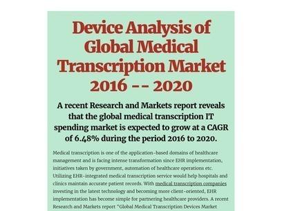 Device Analysis of Global Medical Transcription Market 2016 -- 2020   Medical Transcription Outsourcing   Scoop.it