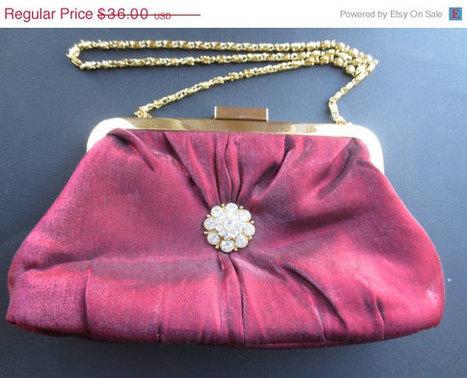 ON SALE Vintage maroon satin clutch/evening bag. 1960s. Retro. Prom clutch. Mad Men.   Vintage Jewelry   Scoop.it