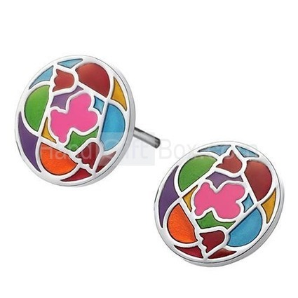 [US$ 5.29] Round Shape Colorful Titanium Steel Earrings | Christmas gifts | Scoop.it