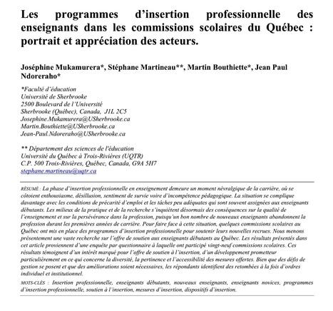 Education & Formation : Mukamurera, Martineau et coll. spécialistes de l'insertion professionnelle des enseignants. | Revue Education & Formation | Scoop.it
