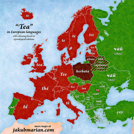 """Map: """"Tea"""" in European Languages 