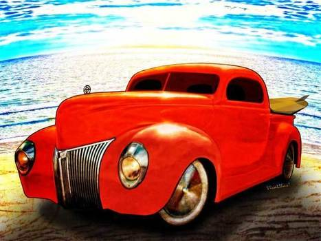 Surfin Forty Ford Pickup at the Beach with VivaChas | VivaChas!  Hot Rod Art | Scoop.it