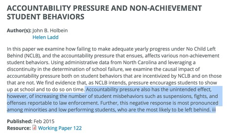 Accountability Pressure and Non-Achievement Student Behaviors // Center for Analysis of Longitudinal Data in Educational Research (CALDER) | Safe Schools & Communities Resources | Scoop.it