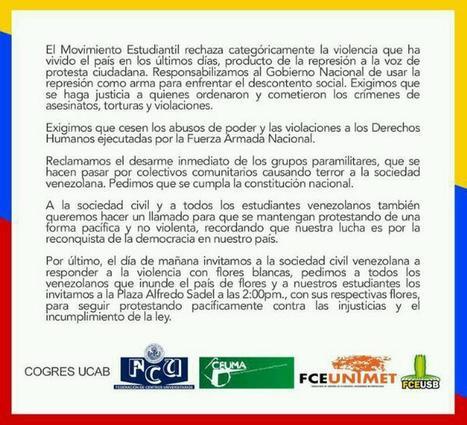 #COMUNICADO del Movimiento Estudiantil de #Venezuela 20.02.14 | País...Venezuela | Scoop.it