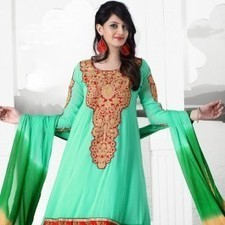 Cyan Green Faux Georgette Salwar Kameez | Strollay.com | Scoop.it