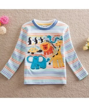 Lovely Cartoon Print Baby Boy Striped Long Sleeve t Shirt | Clothing at SMA-STAR | Scoop.it